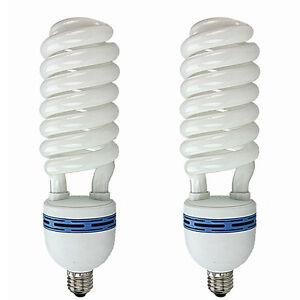 2-x-E27-80W-Fotoleuchte-Lampe-Spiral-Tageslichtlampe-Energiesparlampe-Gluehbirne