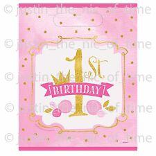 1st Primo Compleanno Rosa Ragazze Compleanno in Plastica Bottino Borsa Regalo Favore Sacchetti x8