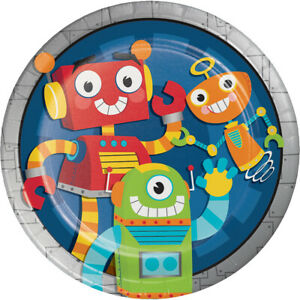 8-x-Party-Robots-9-034-Paper-Plates-Boys-Birthday-Tableware-Supplies-Childrens-Blue