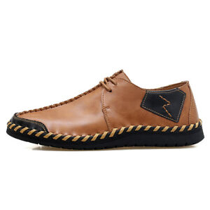 Men-039-s-Casual-Handcrafted-Leather-Breathable-Dress-Shoes-Leather-Flats-Big-Size