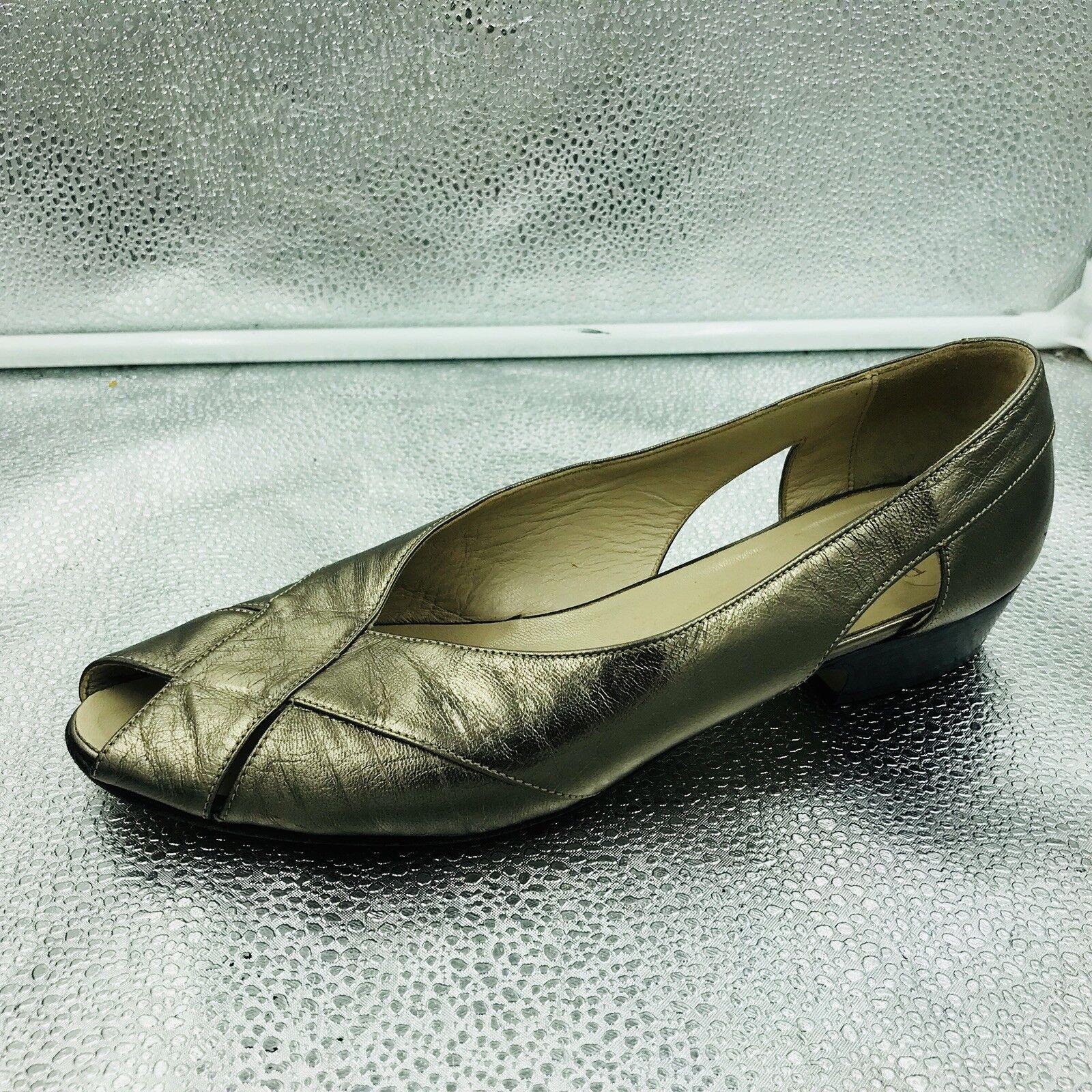 Russell & Bromley Sz 38.5 5.5 Metallic Woven Leather Flat Sandals damen