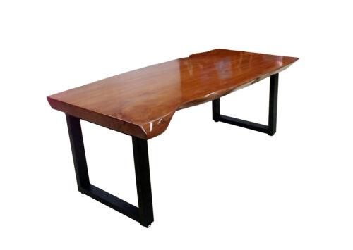 Handmade Live Edge Solid Wood Modern Coffee Table Metal Frame High Gloss PU Coat