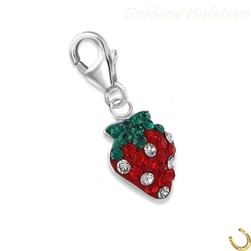 ch-015 Kristall Erdbeere Charm Anhänger 925 Echt Silber Geschenkidee