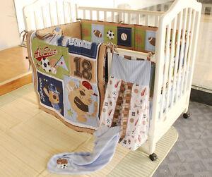 New 7 Pcs Baby Bedding Set Crib Bed Set Cartoon Little Dog Baby Crib Set Quilt Bumper Sheet Skirt Mother & Kids