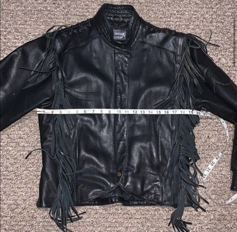 HARLEY DAVIDSON Black Fringed leather moto Jacket - image 4