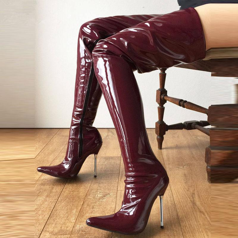 12cm Silver Metal Heel 60cm Custom Crotch Show High Burgundy Thigh High Show Boots Women c83b9d