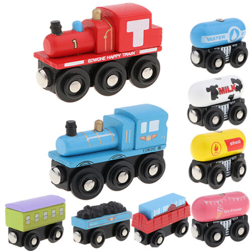 Children Wooden Train Set Track Toy Magnet Engines Carrages Accessories Railway