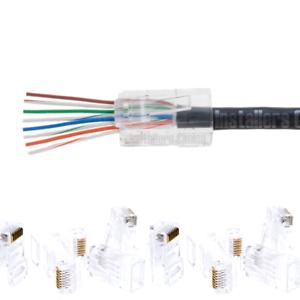 50 Pcs Cat6 RJ45 Network Modular Plug 8P8C Cable Connector End Pass Through