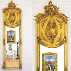 Art-Nouveau-Style-Dore-Miroir-ca-178cm-Mince-Miroir-Mural-avec-Relief-Femmes