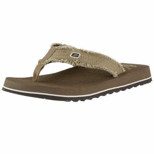 a7679d640e6f1a Skechers Tantric Fray Mens Size 9 Brown Textile Thongs Sandals Shoes 1120  for sale online