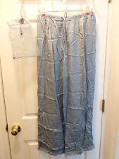 100% Silk Pajama Sleep Pants Size Large Claire's Rose Blue Paisley New NIB