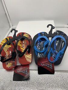 DISNEY CARS 3 McQUEEN /& JACKSON Flip Flops  Beach Sandals toddler size 7-8