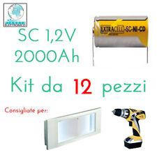12 PEZZI BATTERIA RICARICABILE NI-CD SC 1,2V 2000mAh 22x42mm A SALDARE 30/307 CA