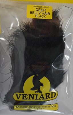 Deer Belly Hair SCHWARZ Veniard UK langes Bauchhaar Hirsch Popper Muddler /& Co