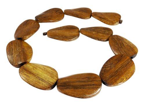 Goldregenholz Perlen große gedrehte flache Ovale ca 40x28 mm Holzperlen H.GO-20
