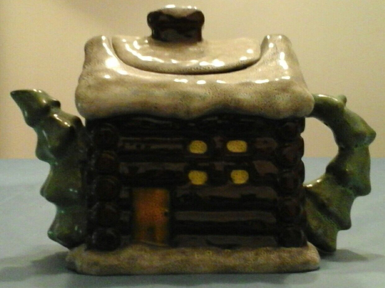 Unique Ceramic LOG CABIN TEAPOT by Boyds Home Collection