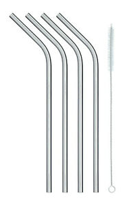 Kitchen-Craft-Stainless-Steel-Reusable-Drinking-Straws-with-Cleaning-Brush-Pk4