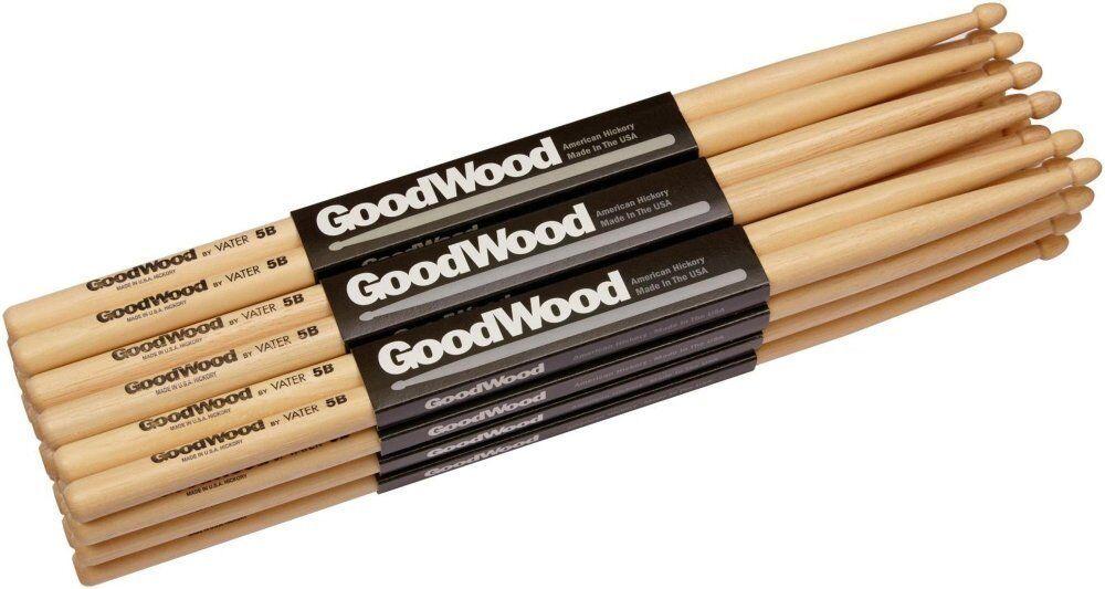Vater Goodwood 5A Drumsticks Brick Deal (12x Hickory Wood Tip Drum Sticks)