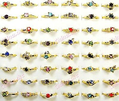 50pcs wholesale jewelry Lot  Czech Rhinestone Gold P fashion Rings free shipping