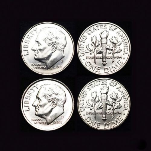 2011 P+D Roosevelt Dime Set ~ P and D Mint Coins in Mint Wrap