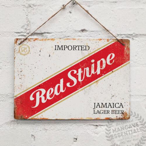 RED STRIPE Label Vintage Metal Wall Sign Plaque Retro Pub Bar Mancave Jamaican