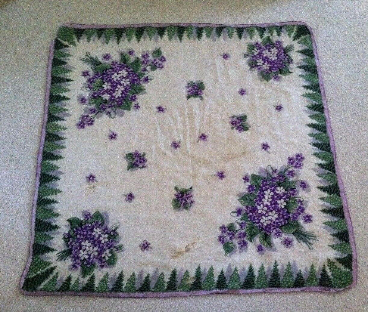 Vtg Ceil Chapman Purple & Green on White Silk Sca… - image 2