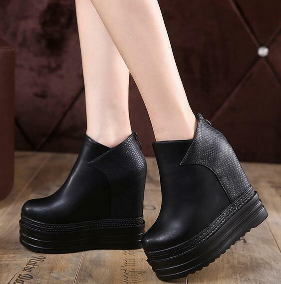 14CM Womens High Hidden Heels Wedge Platform Ankle Boots Round Toe Creepers F104