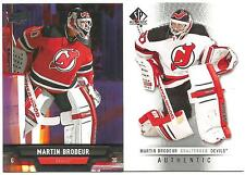2 CARD LOT 2013-14 MARTIN BRODEUR UPPER DECK #34 2012-13 SP AUTHENTIC #39 DEVILS