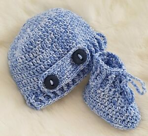 14333ca4d167e HAND CROCHETED BLUE BABY BOY BOOTIES, HAT OR MITTENS shower gift ...