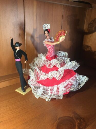 Vintage Pair Spanish Flamenco Dancer Dolls Marin Chiclana Spain Senorio Andaluz