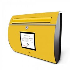 Edelstahl Motivbriefkasten mit Zeitungsrolle und Motiv Briefkasten Gelb rostfrei