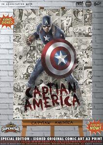 Captain-America-Chris-Evans-the-Avengers-Comic-SUPERSTAR-A3-Signed-Print