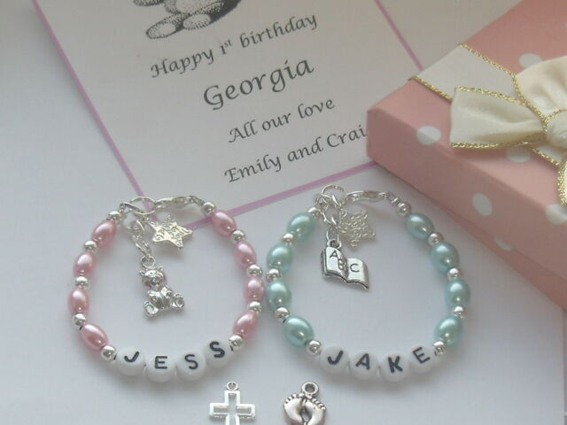 Baby Boy Girl 1st Birthday christening  present bracelet personalised box