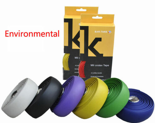 2 Rolls w// Plugs Environmental Track Bike Handlebar Tape Road Bicycle Bar Tape