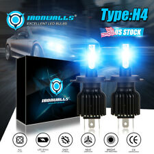 Ironwalls 9003 H4 Cob Led Headlight Bulbs Conversion Kit Hiamplo Beam 8000k Blue Fits 1999 Mitsubishi Mirage