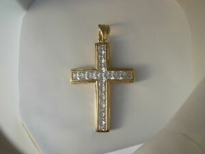 24k Gold Plated 3.5 inch long Jumbo Cz Iced Out Cross P