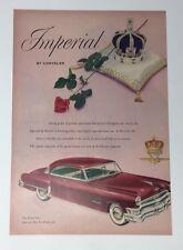 Original Print Ad 1952 CHRYSLER IMPERIAL Car Ad Vintage 2 Door Artwork Green Int