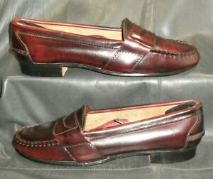 Cole Haan antique burgundy leather moc toe penny loafers ...