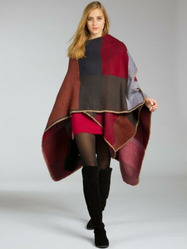 CASPAR PON006 Women Reversible Multioloured Poncho Winter Stole Cardigan Cape