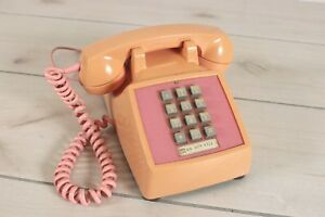 Vintage-Pink-Push-Button-Desk-Phone-Western-Electric-Bell-Telephone-Peach-Faded