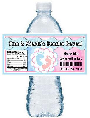 WATERPROOF Gingerbread Boy /& Girl Christmas Gender Reveal Water Bottle Labels