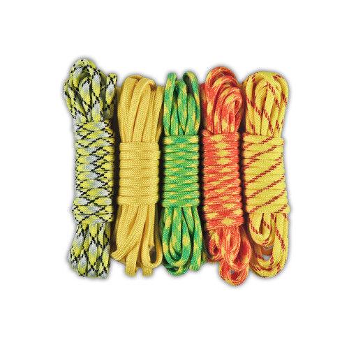 550 Paracord Lot 5 Colors of Parachute Cord For Survival Bracelets /& Lanyards