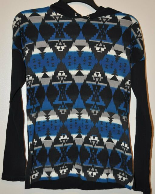 CHAPS~Woman Black Southwestern Long Sleeve Hoodie Thermal Top $59 Size S NWT