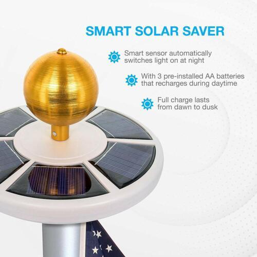 SOLAR Flag Pole Light 26 high-powered LED Day-Night Sensor 10 Hour WEATHER-PROOF
