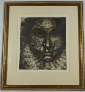 1968-Mid-Century-Modern-Lithograph-Head-of-State-by-Dennis-P-Sullivan-Listed