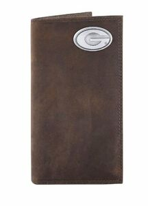 NCAA Georgia Bulldogs Brown Crazyhorse Leather Roper Concho Wallet One Size