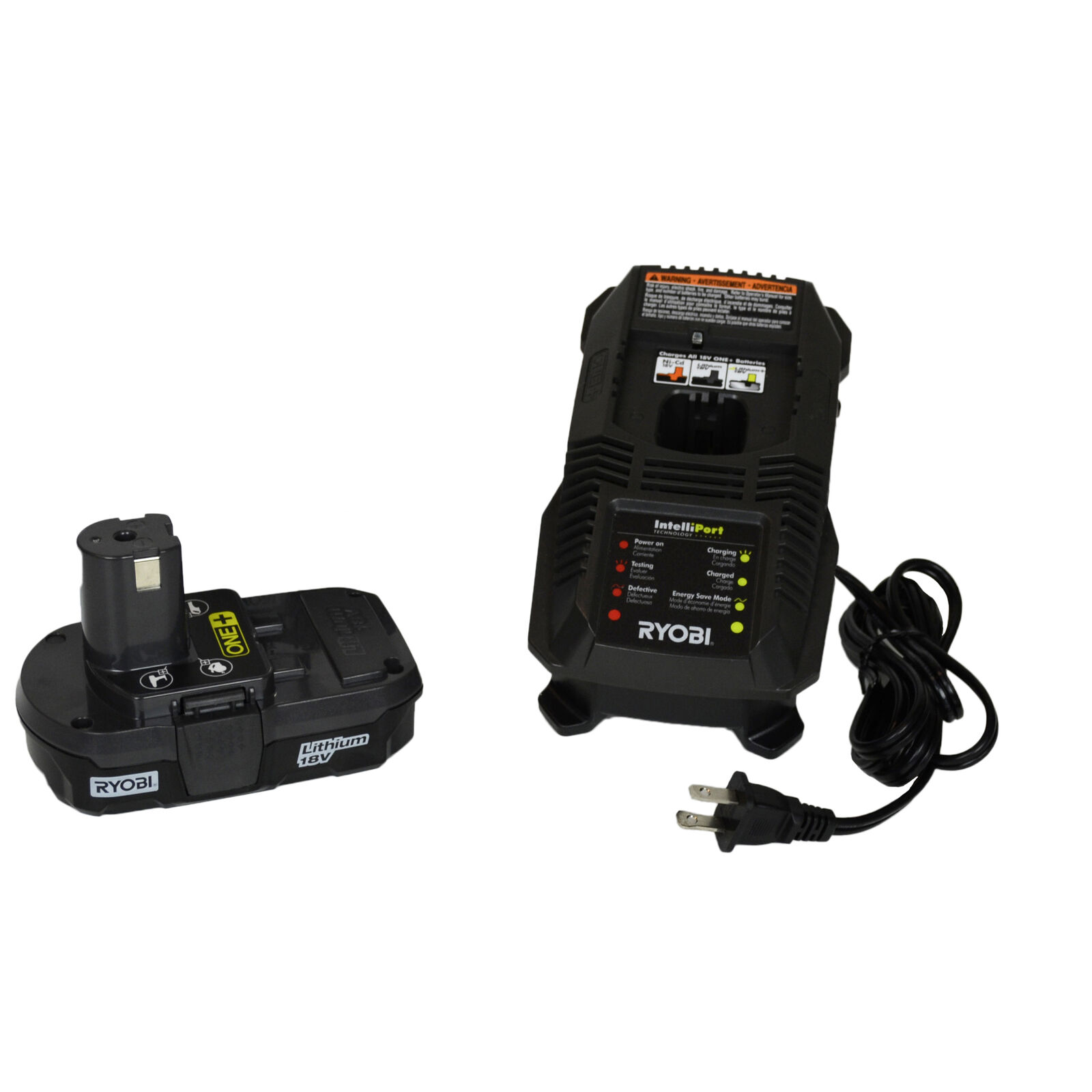 Ryobi P118 18V Lithium-Ion Battery Charger & One P102 18V Compact Battery