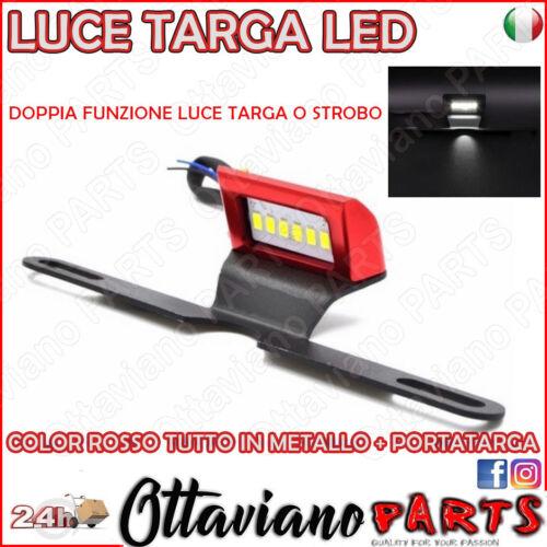 Luce Targa Led Cafe Racer Universale Portatarga Moto Special Alluminio Rosso M44