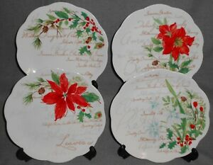 Set (3) Lenox WINTER MEADOW PATTERN  Dessert or Salad Plates HOLIDAY-CHRISTMAS