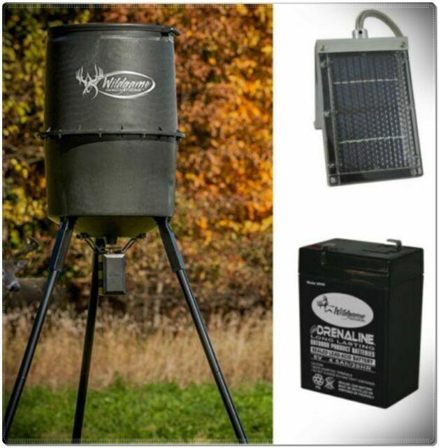 Tripod Metal Deer Feeder Big Wild Game Hunting Timer 6v Battery Solar Panel Kit For Sale Online Ebay